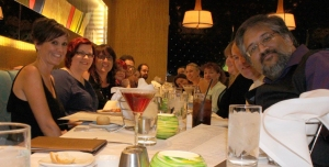 Dinner with friends including Cheryl Bradshaw, Shea MacLeod, Me, Emma Jameson, M. Edward McNally, Heather Adkins, Lizzy Ford, CD Reiss, Alisa Tangredi, Mike Cooley and Arshad Ahsanuddin